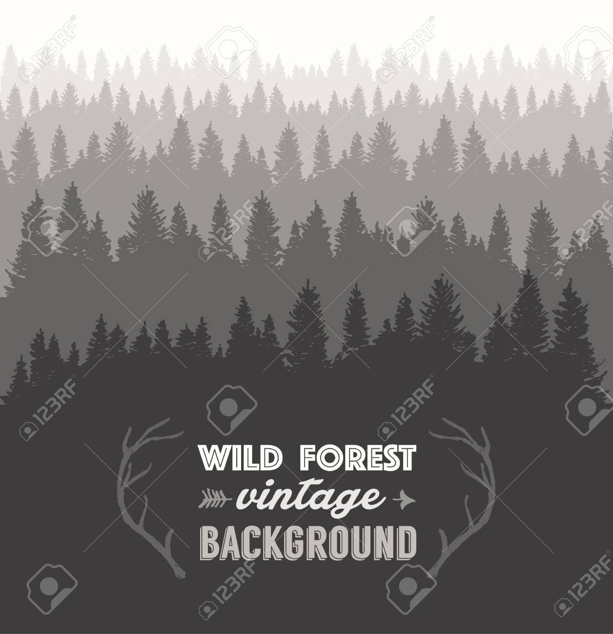 pine forest design template hand drawn vector illustration royalty
