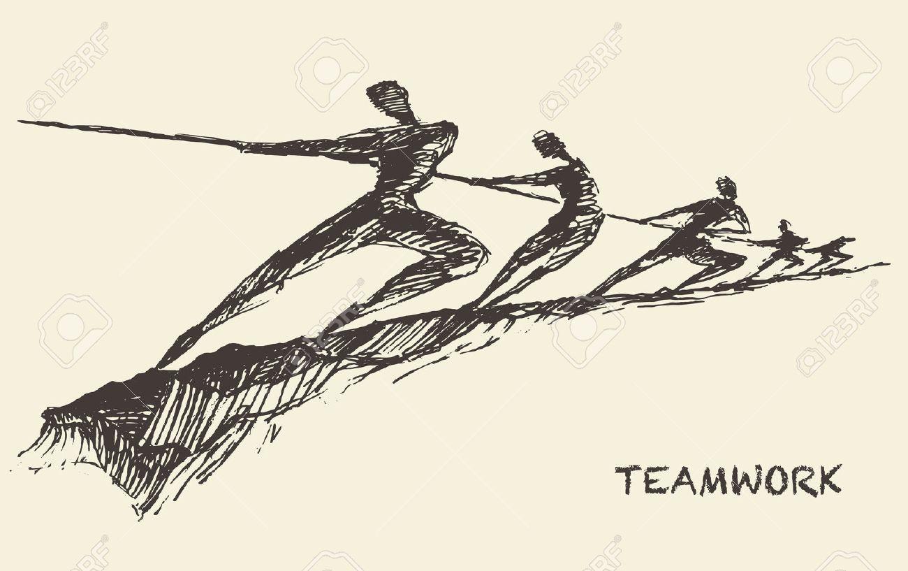 Hand drawn vector illustration of a team, pulling line, sketch. Teamwork, partnership concept. Vector illustration, sketch - 59291438