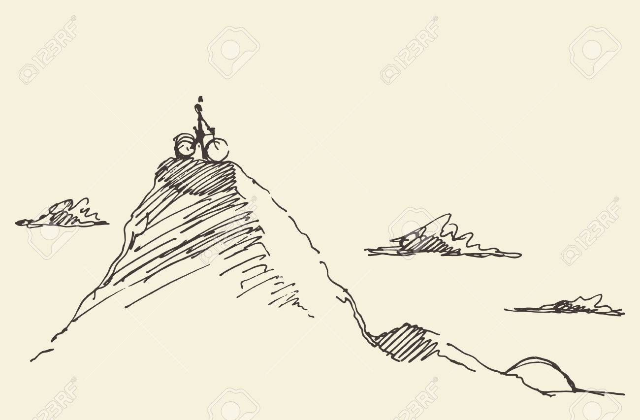 Sketch of a rider with a bicycle, standing on top of a hill. Vector illustration - 60634248