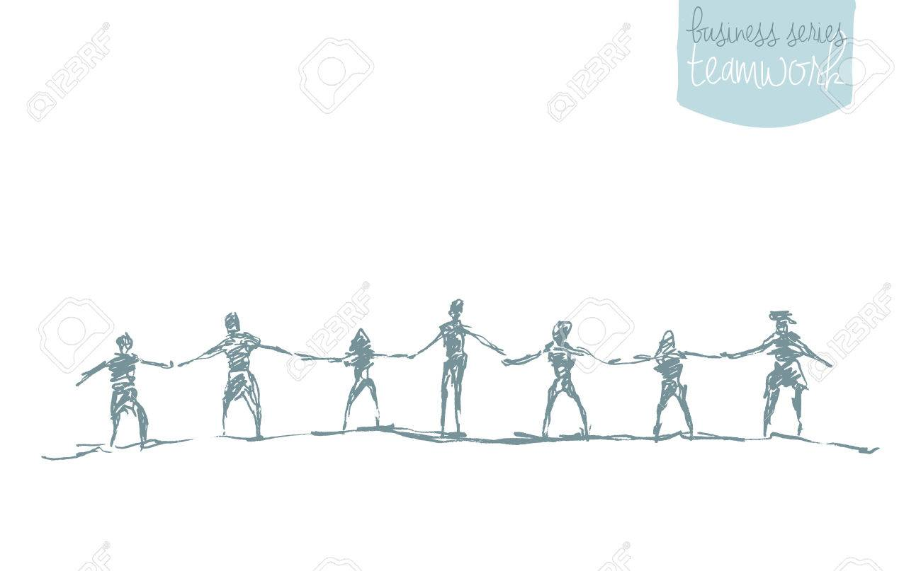 People hold hands in a spirit of togetherness, vector illustration, hand drawn, sketch - 62009388