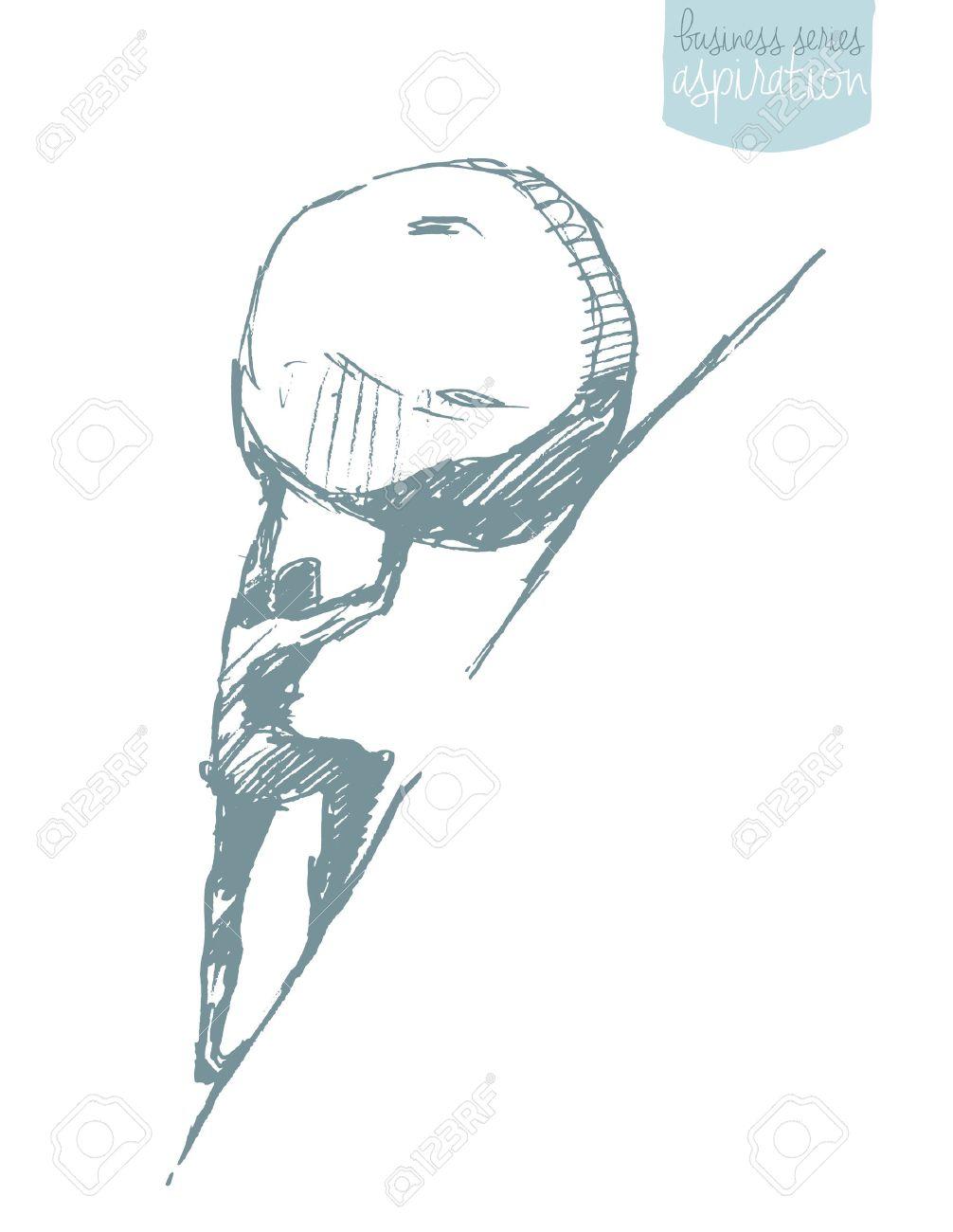 Young businessman pushing large stone uphill, illustration, sketch. Sisyphus myth. - 63805926