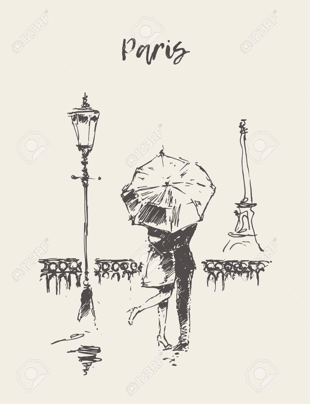 A loving couple under umbrella in the rain in paris hand drawn vector illustration