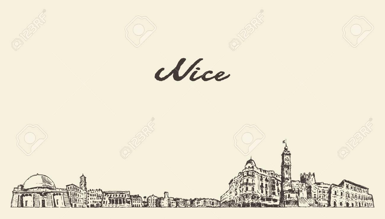 Nice skyline, France, vintage engraved illustration hand drawn - 113457652