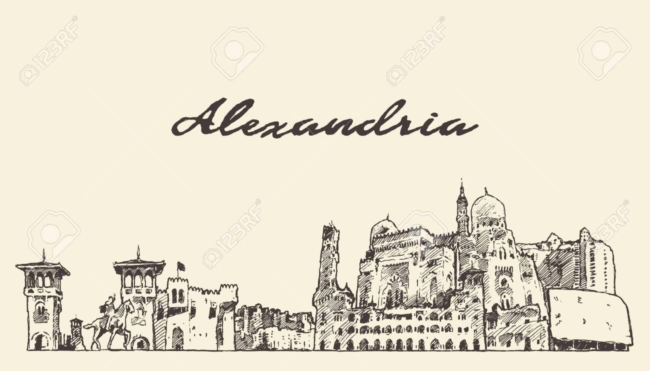 Alexandria skyline Egypt hand drawn vector sketch - 129786733