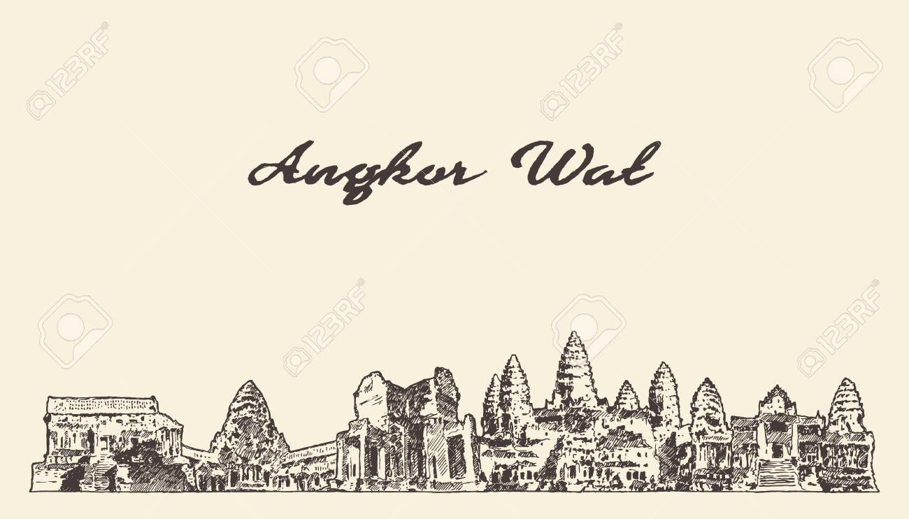 Angkor Wat skyline Cambodia drawn vector sketch - 129786115