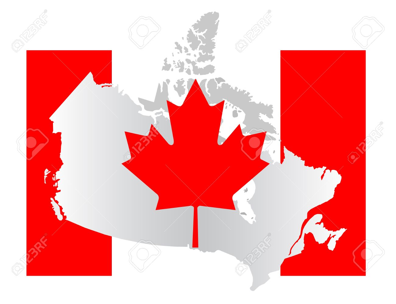 Flag And Map Of Canada Stock Photo Picture And Royalty Free Image - Canada map with flag