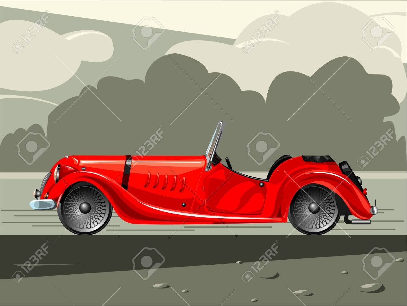 Illustration Of Old-fashioned Red Sports Car Royalty Free Cliparts ...