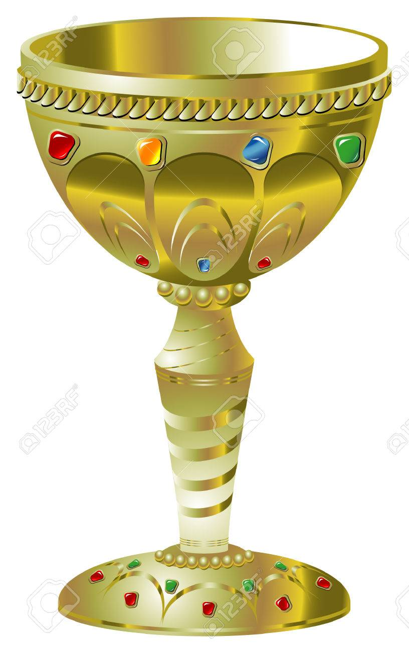 Illustration of golden goblet with precious stones Stock Vector - 5630606
