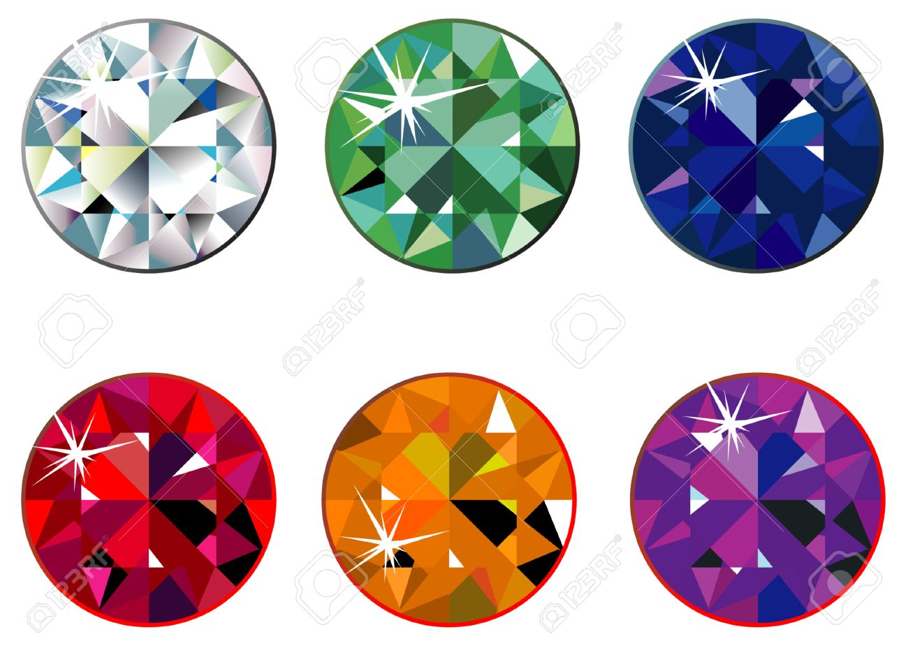 Round Precious Stones With Sparkle Royalty Free Cliparts, Vectors ...