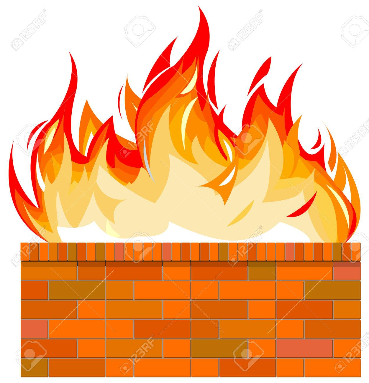 Brick Wall On Fire Royalty Free Cliparts, Vectors, And Stock ...