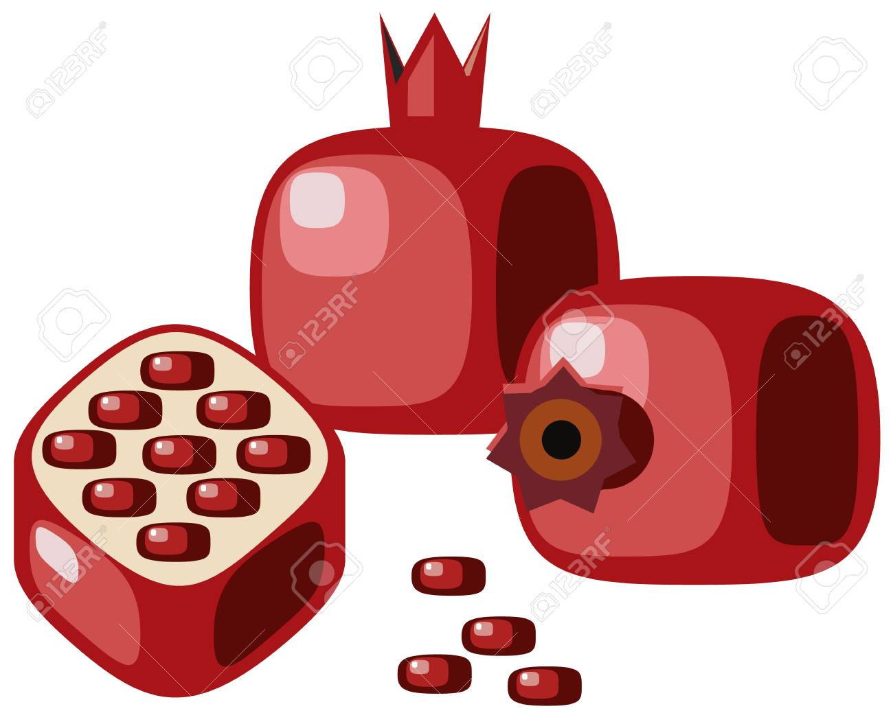 Pomegranates with seeds Stock Vector - 6348637