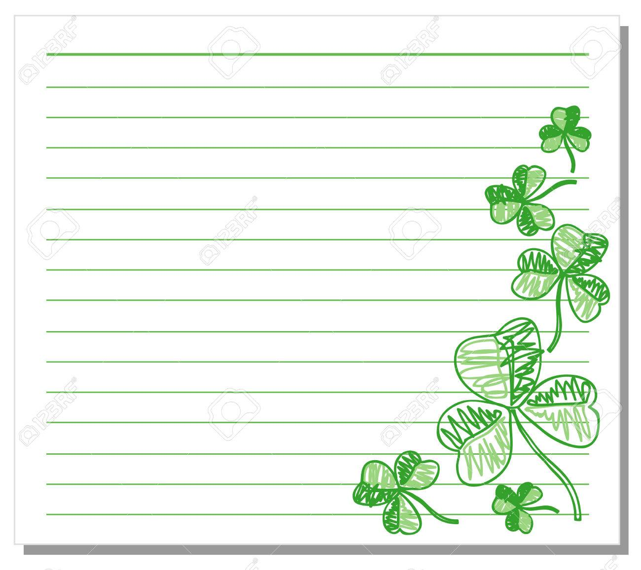 Hand drawn shamrock on white note paper Stock Vector - 6348577