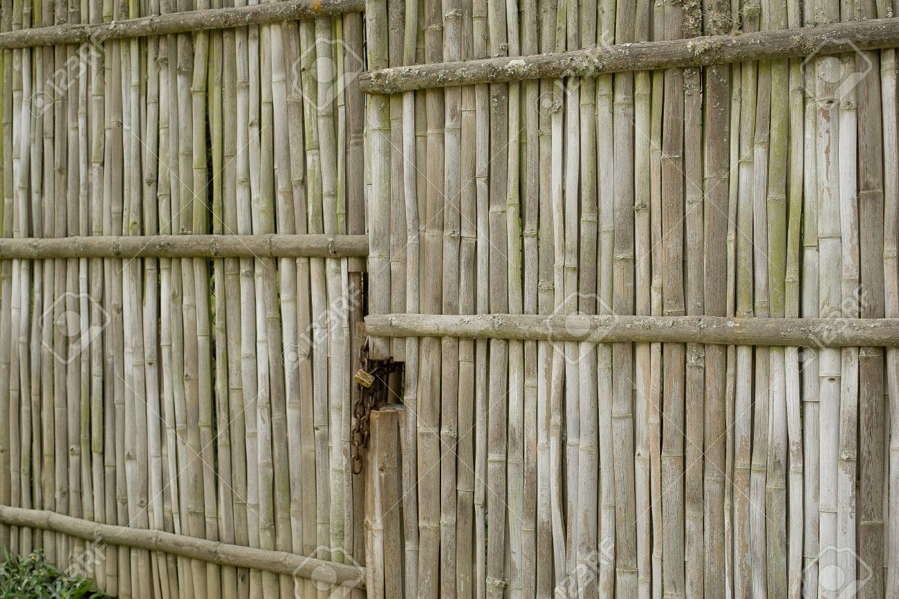 old weathered bamboo gate Stock Photo - 16777971