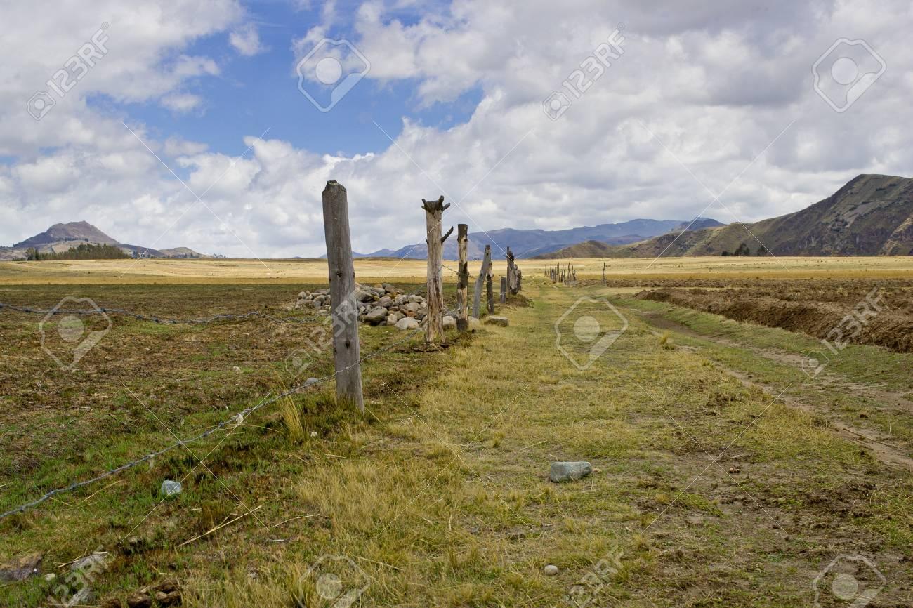 farm road in the high plans  Sierra  of Ecuador Stock Photo - 17102388