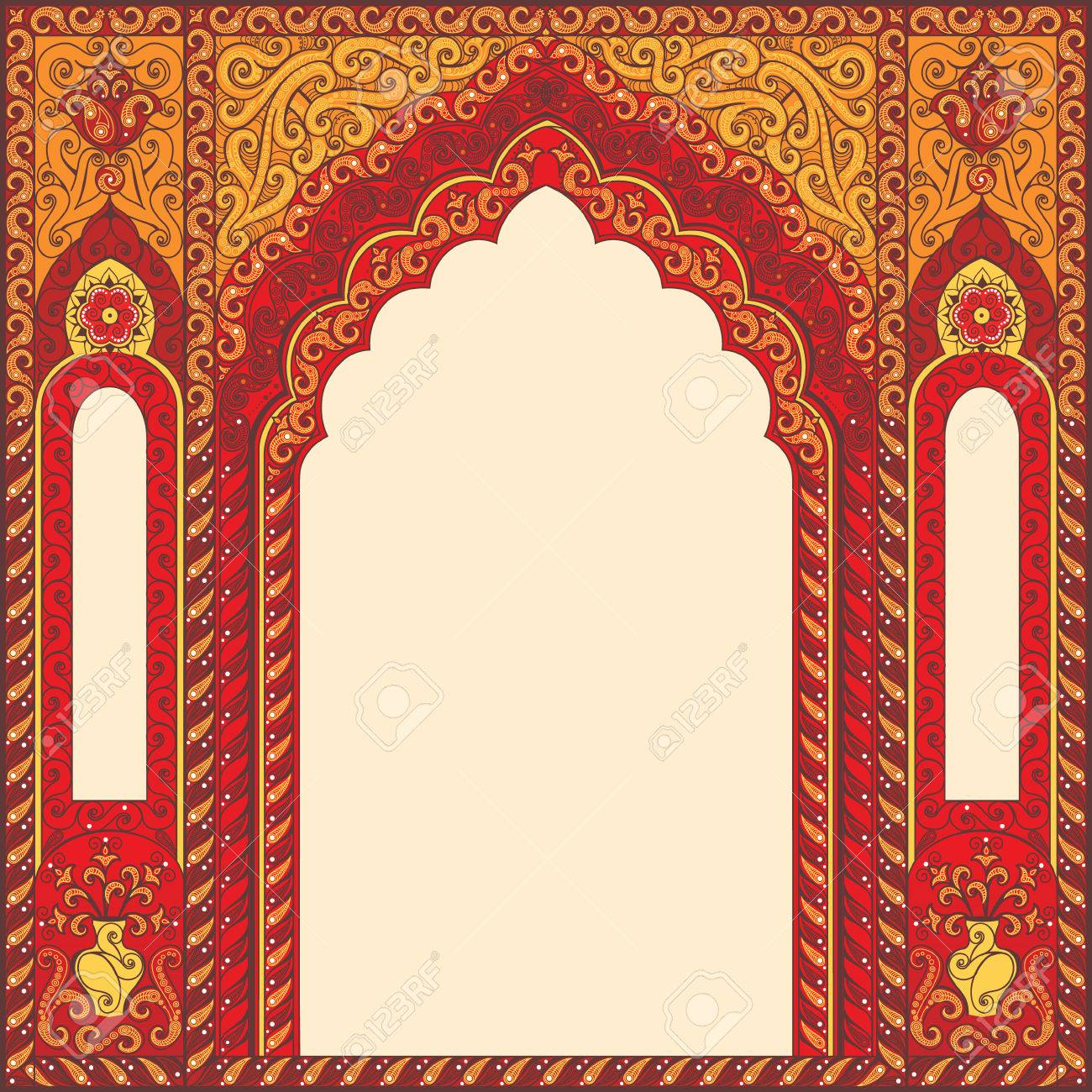 Eastern Red Frames, Arch. Template Design Elements In Oriental ...