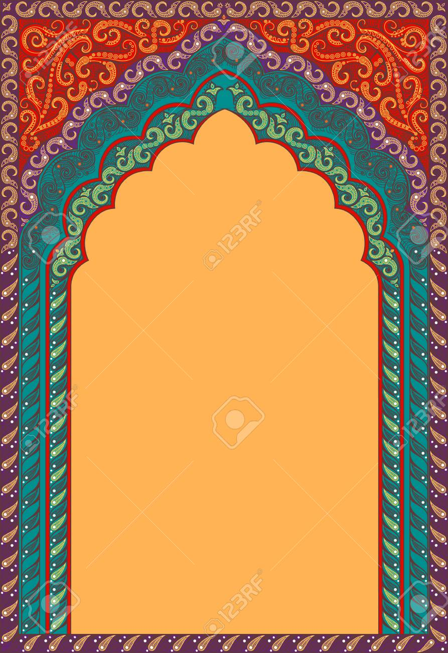 Vector Indian Decorative Arch Shades Of Colors Red Orange