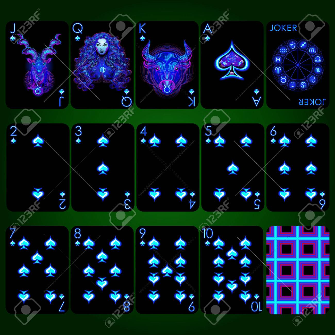 Playing Cards Spade Suit Joker And Back Background Black Card Royalty Free Cliparts Vectors And Stock Illustration Image 68353099