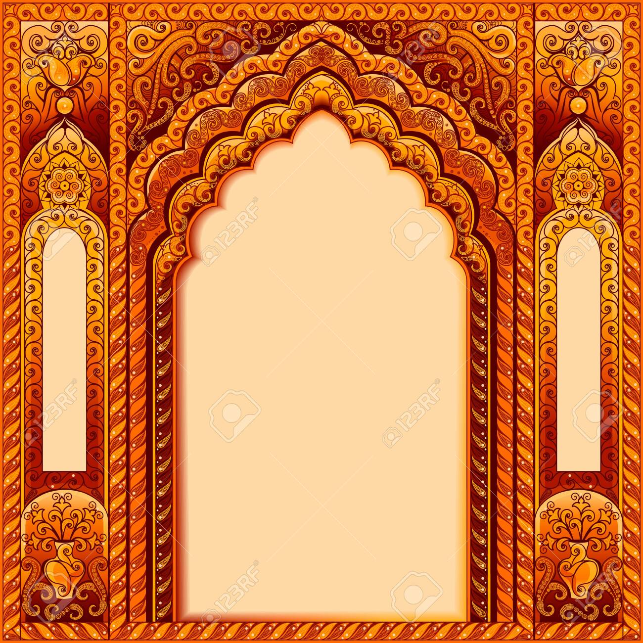 Arch with Oriental patterns. Colors orange and gold. The Central block of text. - 143939329