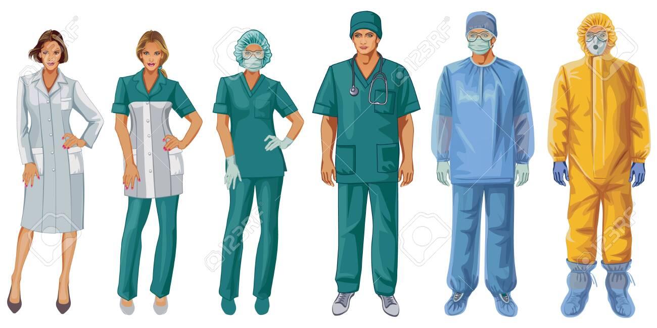 Uniforms of doctors and nurses. Protective suit. - 144896154