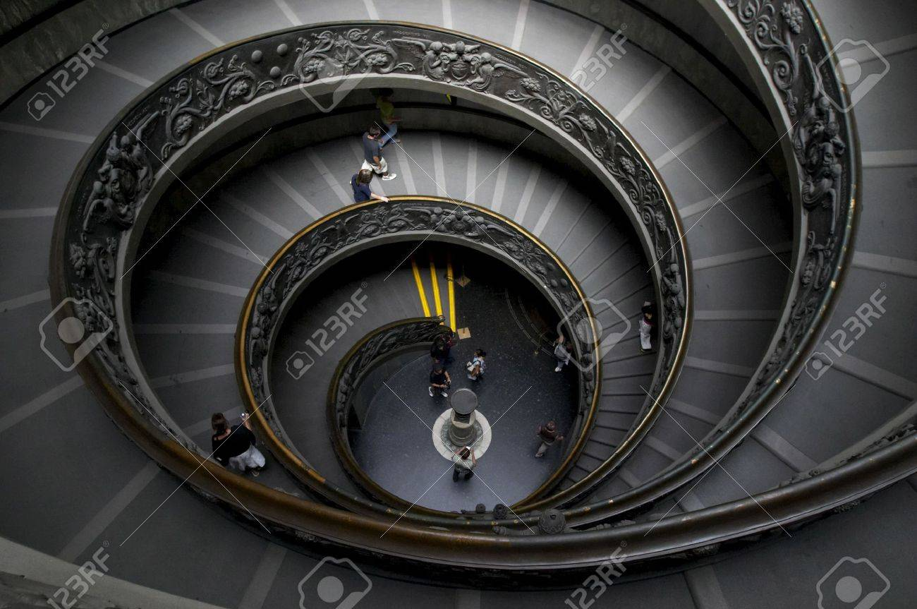 Spiral stairs in Vatican museum, upper view on a few tourists Stock Photo - 5232234