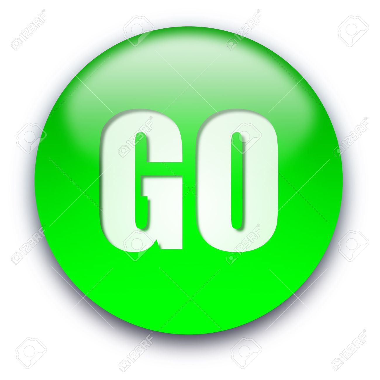 Green Glossy Go Button Isolated Over White Background Stock Photo