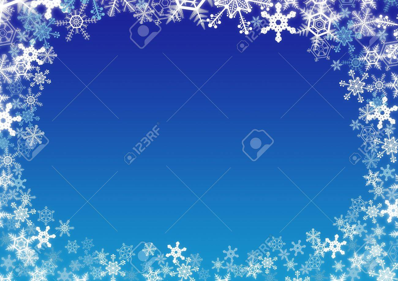 winter snowflakes frame over blue gradient background stock photo