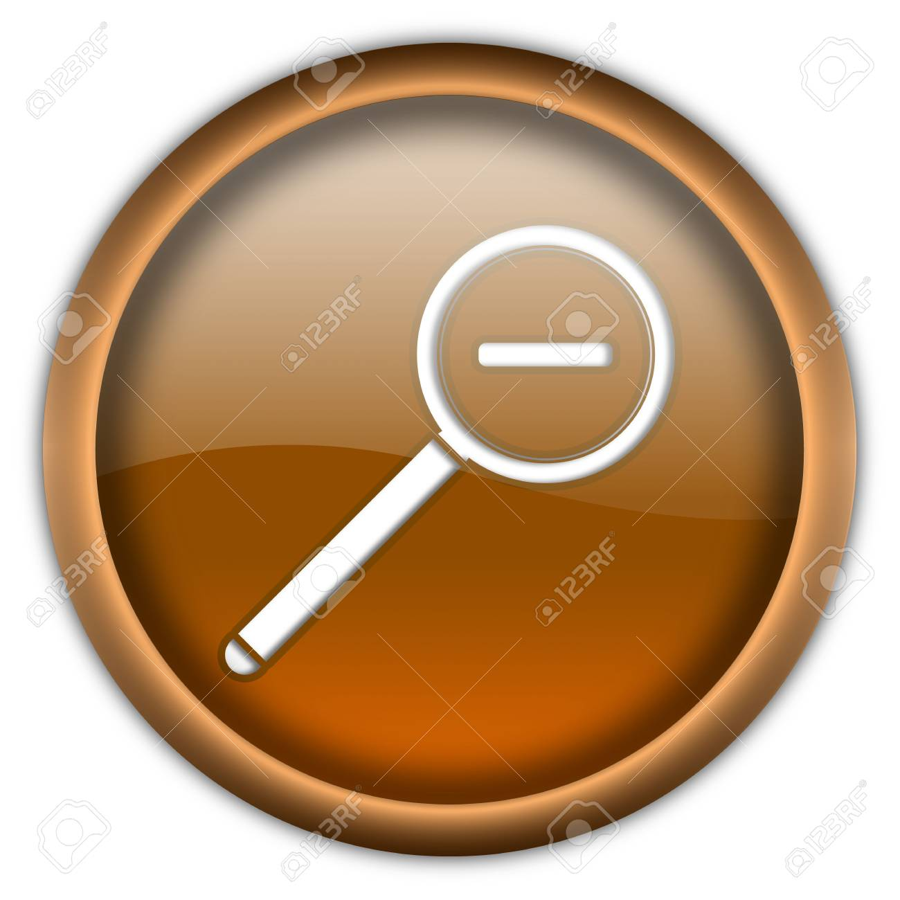 Magnifier round glossy button isolated over white background Stock Photo - 6460320