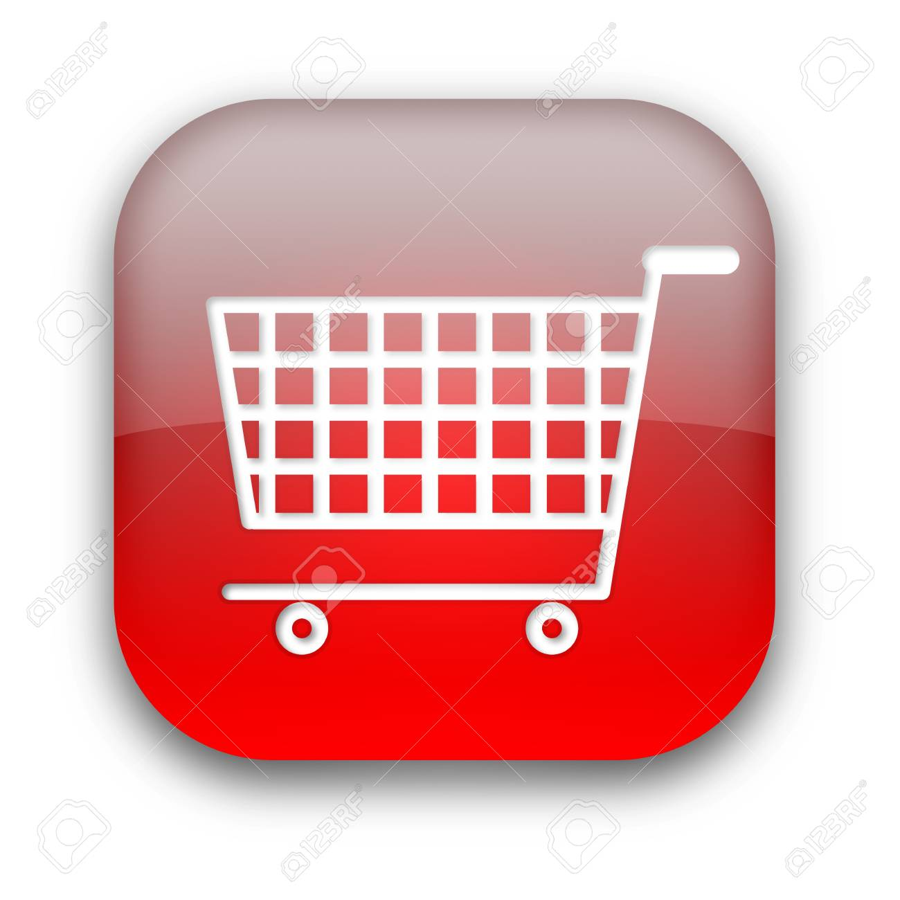 Shopping cart glossy button isolated over white background Stock Photo - 8955888
