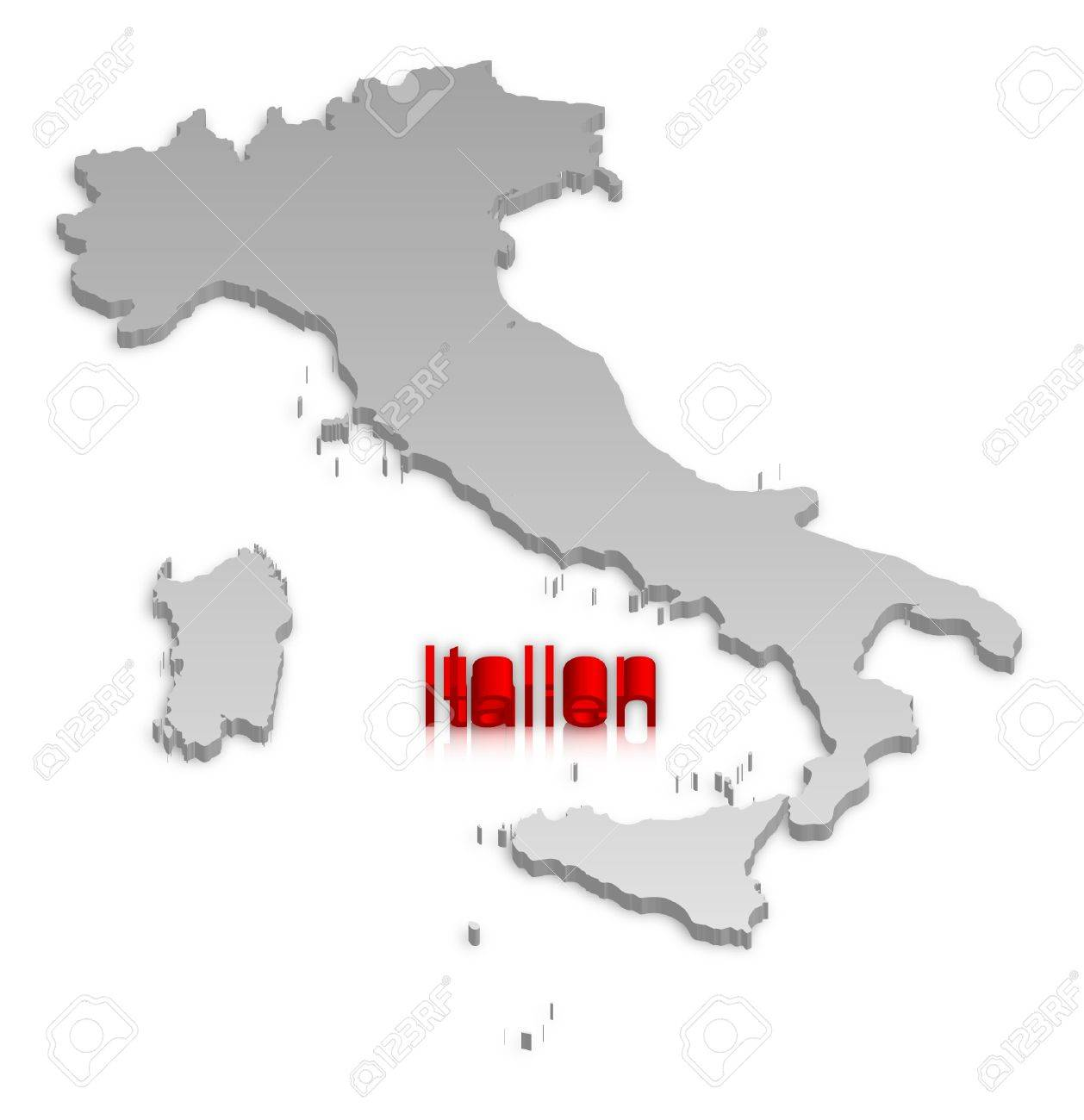 A simple 3D map of Italy. Stock Vector - 9187761