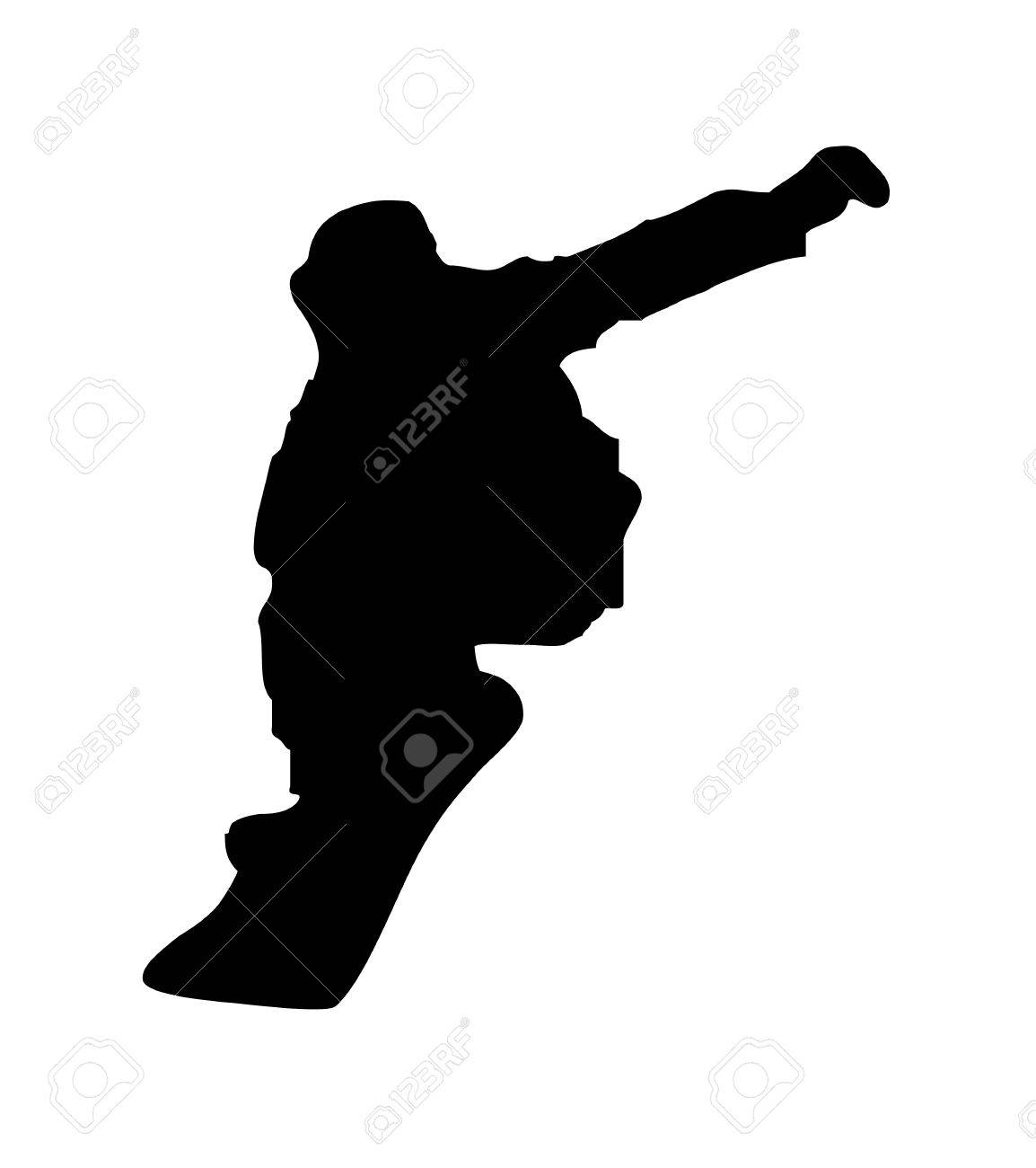 An abstract vector illustration of a snowboarder during a grab. Stock Vector - 11987356