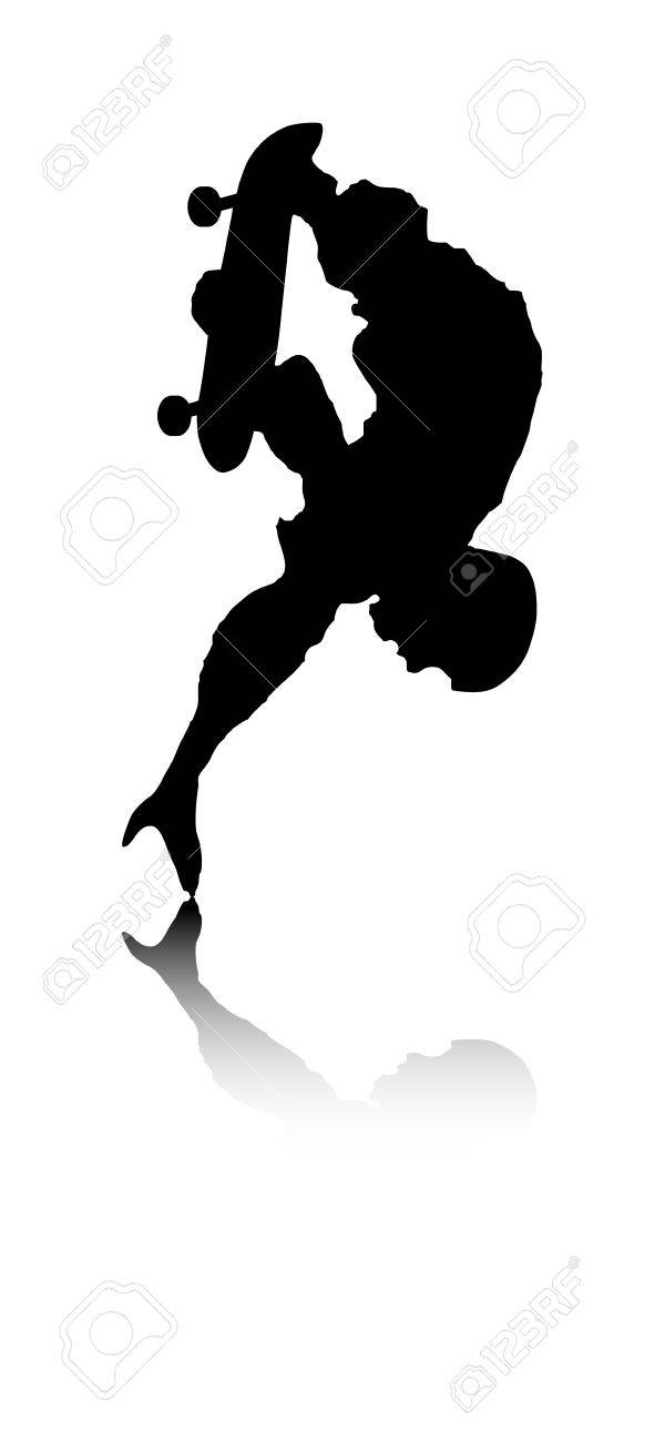 An abstract vector illustration of a skateboarder during a handstand. Stock Vector - 11987357