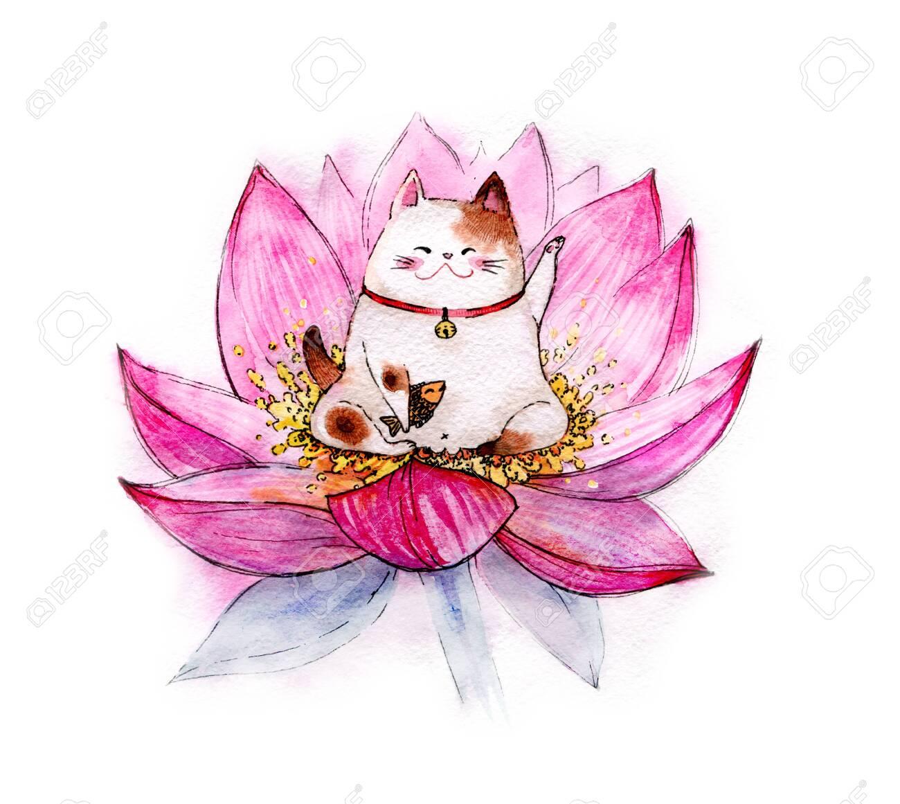 Cute Kawaii Cartoon Maneki Cat Neko Meditating In Lotus Flower Stock Photo Picture And Royalty Free Image Image 136553362
