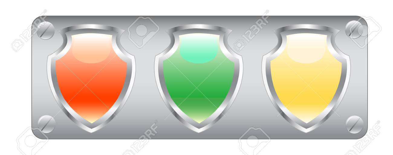 vector drawing computer icons in the form of a shield on a white background Stock Vector - 3562551