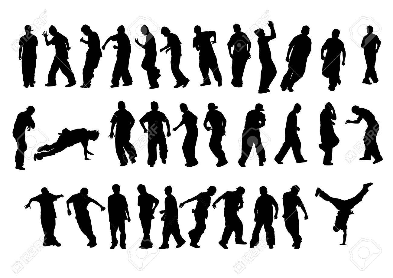 Vector drawing of young dancers. Silhouettes on a white background. Saved in the . Stock Vector - 4807004