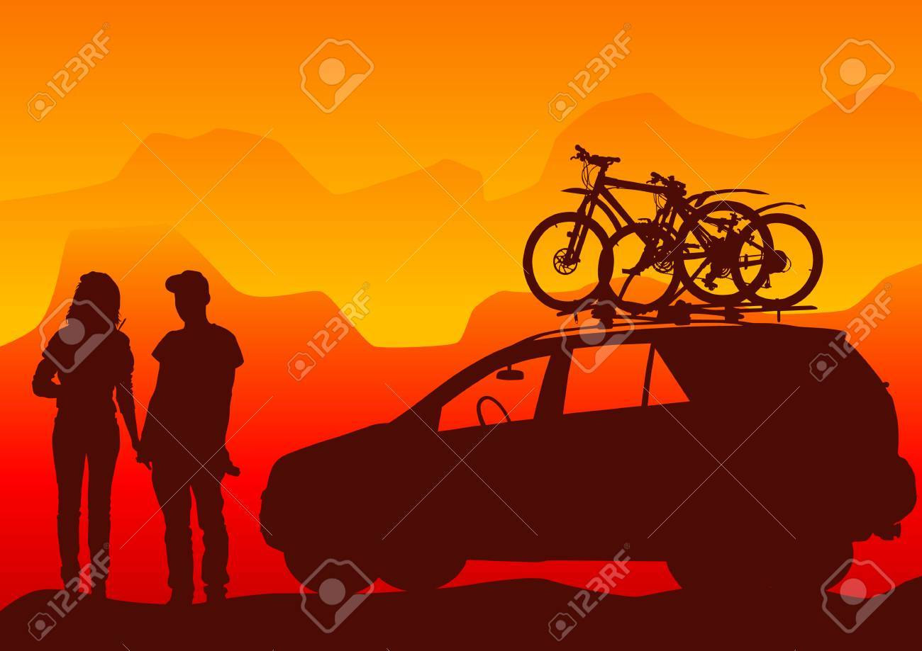 Vector drawing travelers. Silhouettes athletes. All objects separately. Saved in the . Stock Vector - 4822270