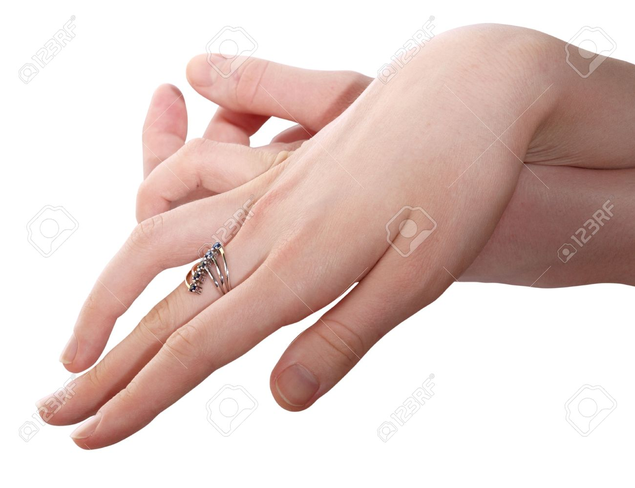 Picture Of Women\'s Hands With A Gold Ring Stock Photo, Picture And ...