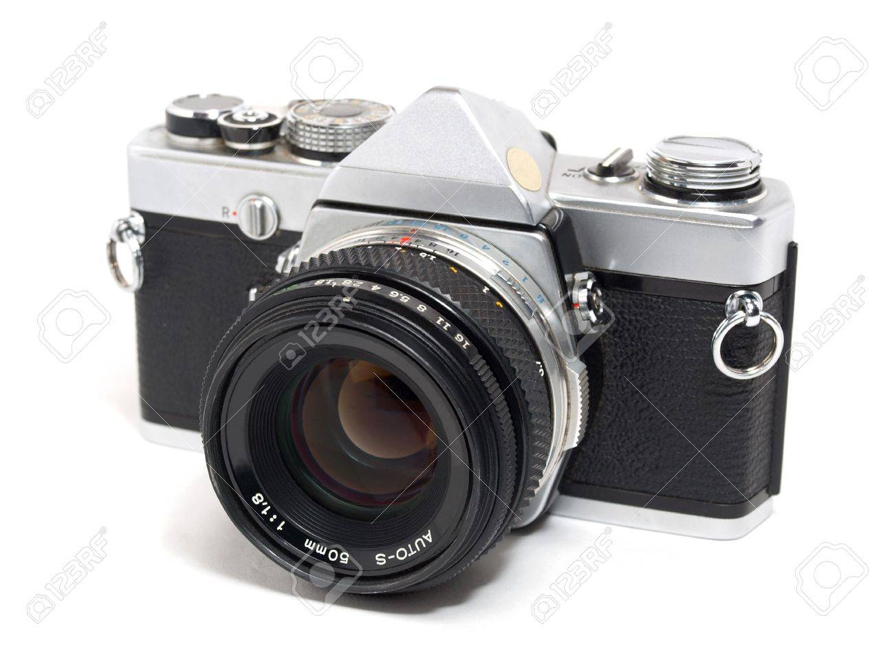 Color Photo Of An Old Film Lens Reflex Cameras. An Isolated Object ...