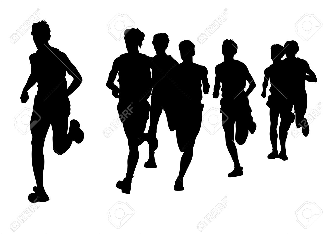 Vector drawing competition on the run. Silhouettes on a white background Stock Vector - 5131869