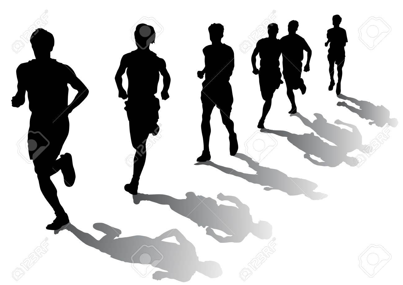 Vector drawing competition on the run. Silhouettes on a white background Stock Vector - 5131871