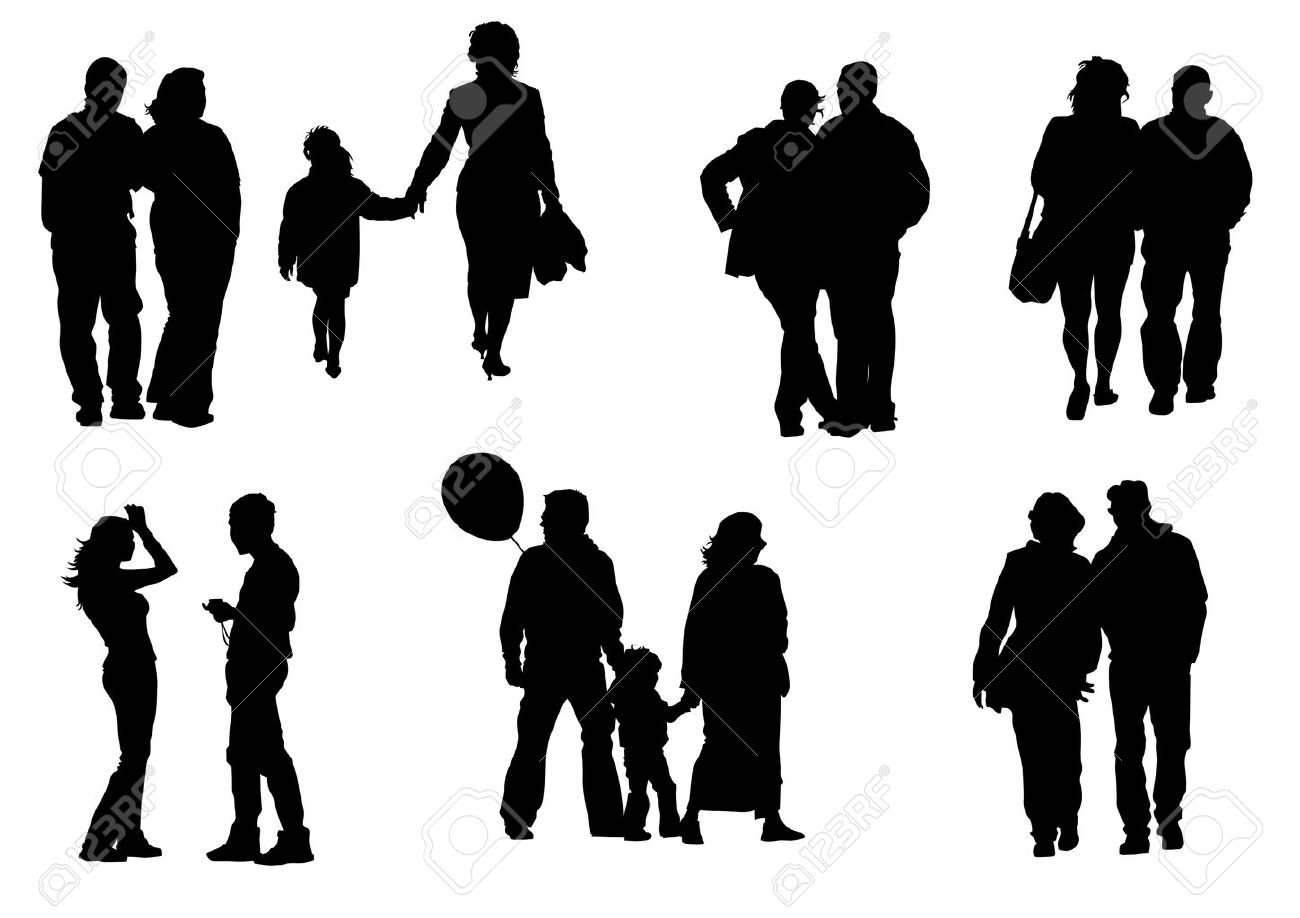 Vector drawing people to walk. Silhouette on white background Stock Vector - 5165730