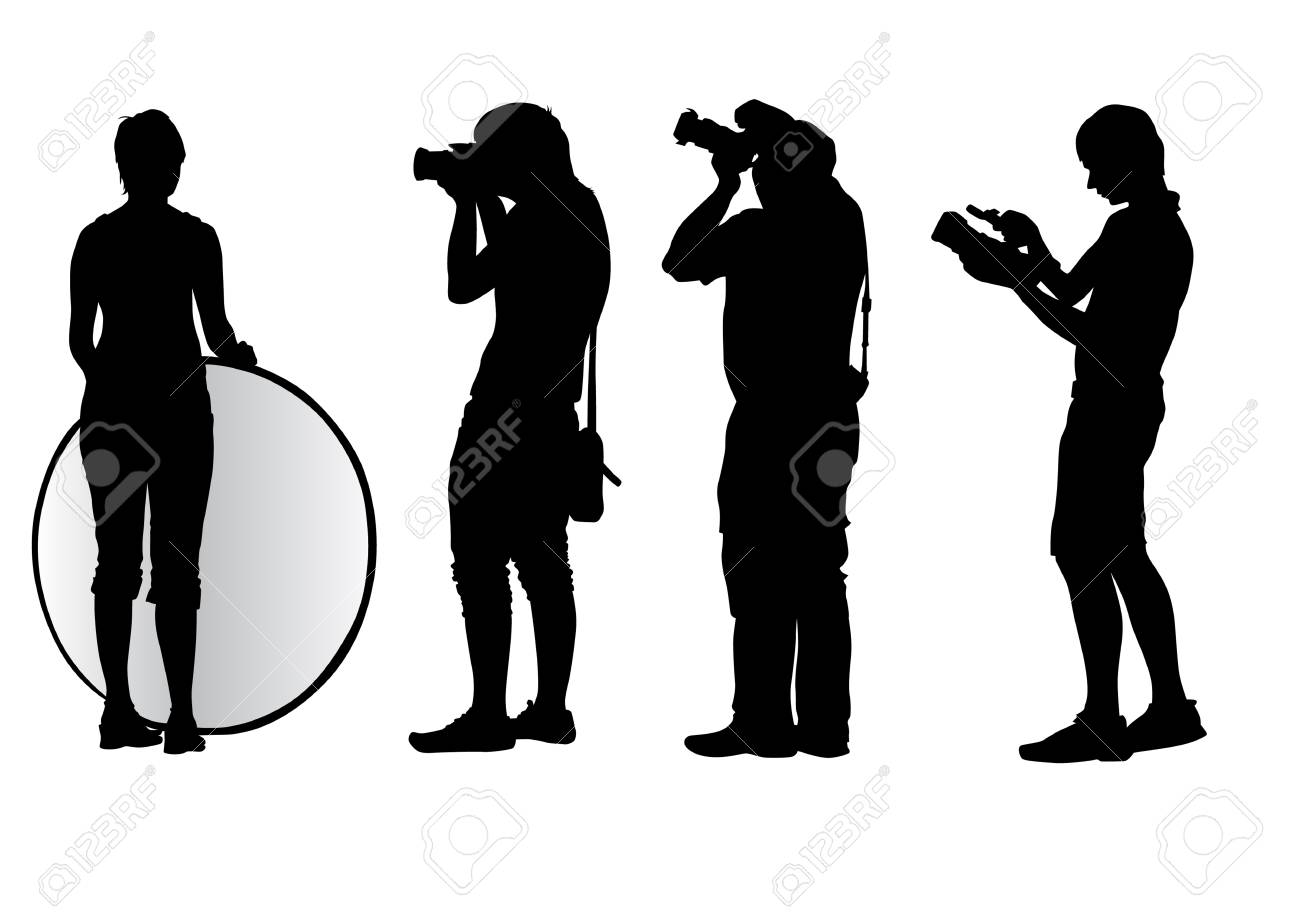 Vector image of young photographers with equipment at work Stock Vector - 5346602