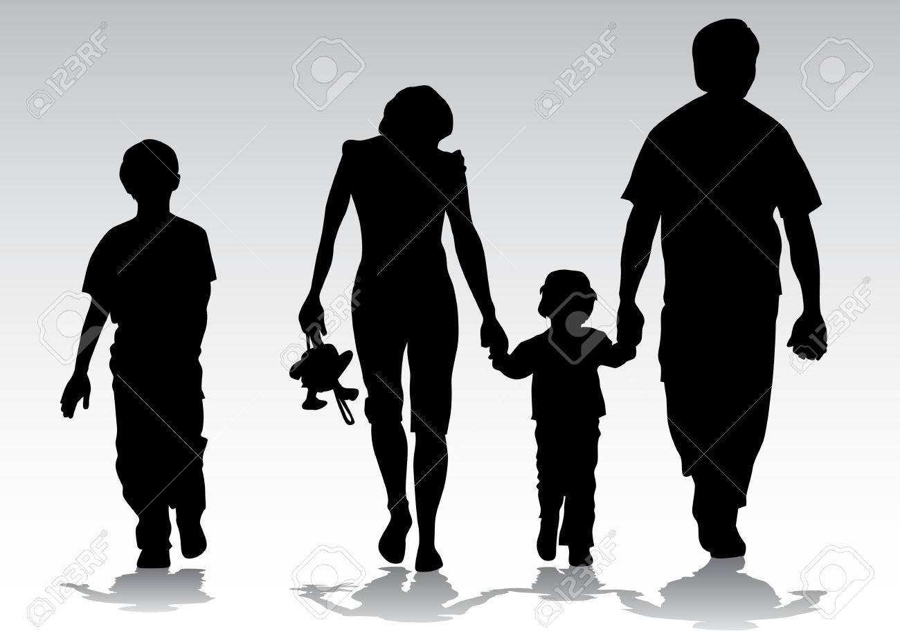 Vector drawing families to walk. Silhouettes on a white background Stock Vector - 5346668