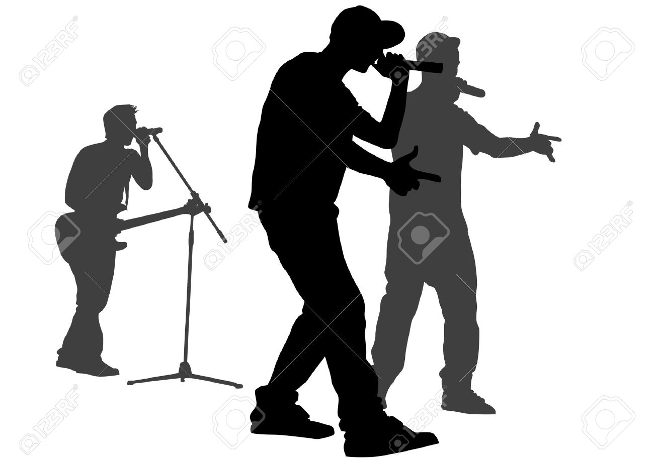 Vector silhouette of the artists of hip hop. A live performance on stage Stock Vector - 5433458