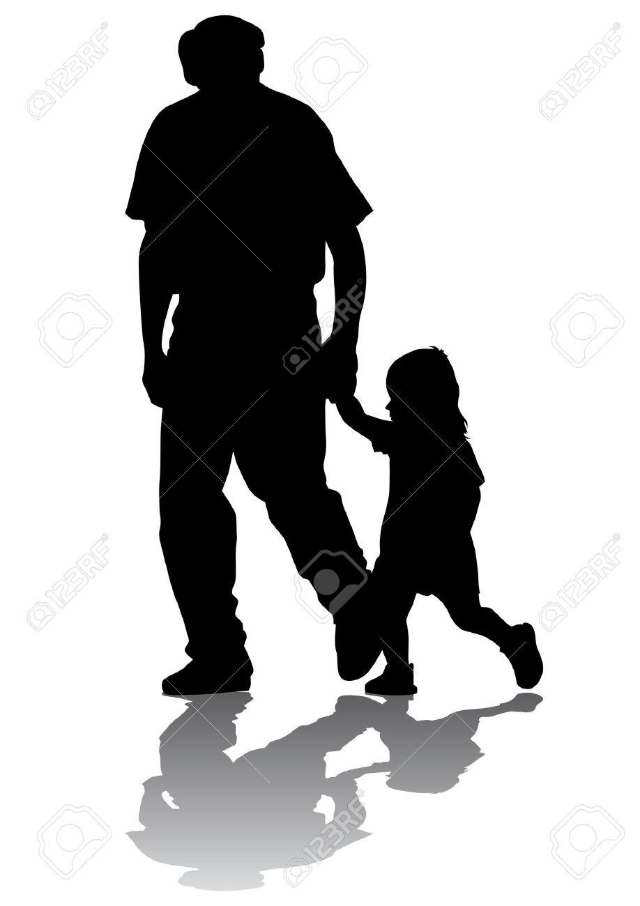 Dessin Vectoriel Grand Père Et Petite Fille Pour Une Promenade Silhouette Sur Fond Blanc
