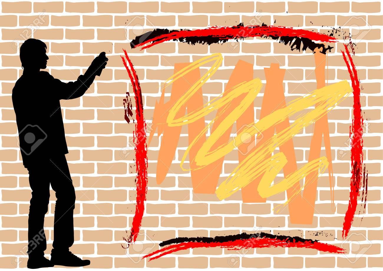 Resultado de imagen de graffiti silueta sobre ladrillo