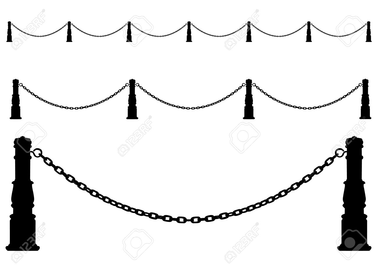 drawing a metal fence. Chain on posts Stock Vector - 5648878