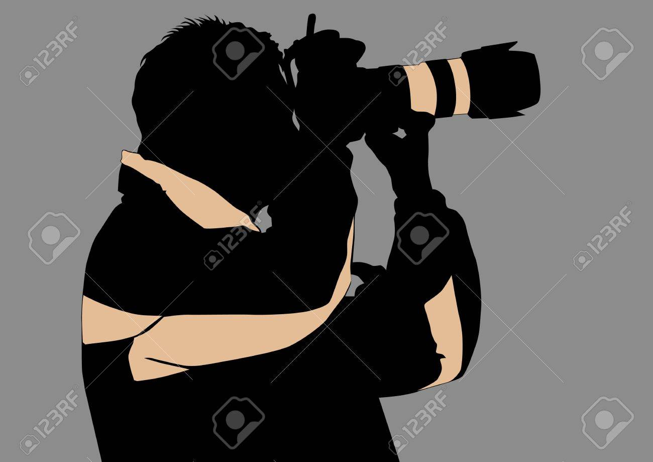 Vector image of the photographer with camera in hand. Silhouette on white background Stock Vector - 5700362