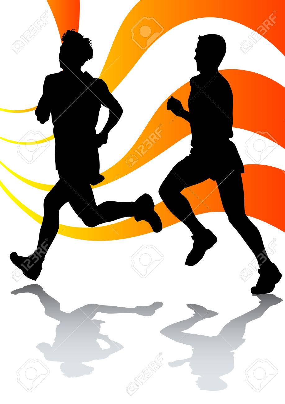 Vector drawing running athletes Stock Vector - 6101106