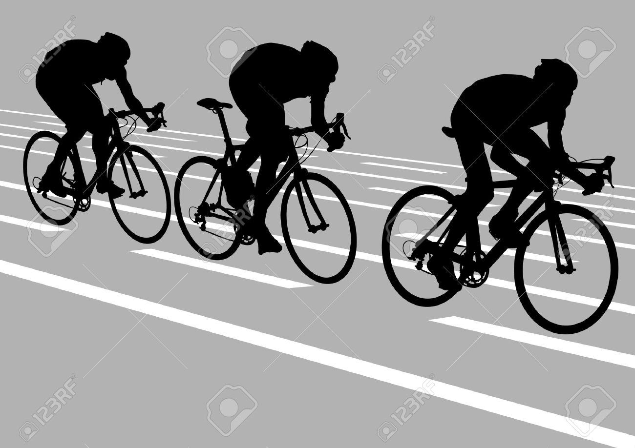 Vector drawing cyclists while driving Stock Vector - 6101112