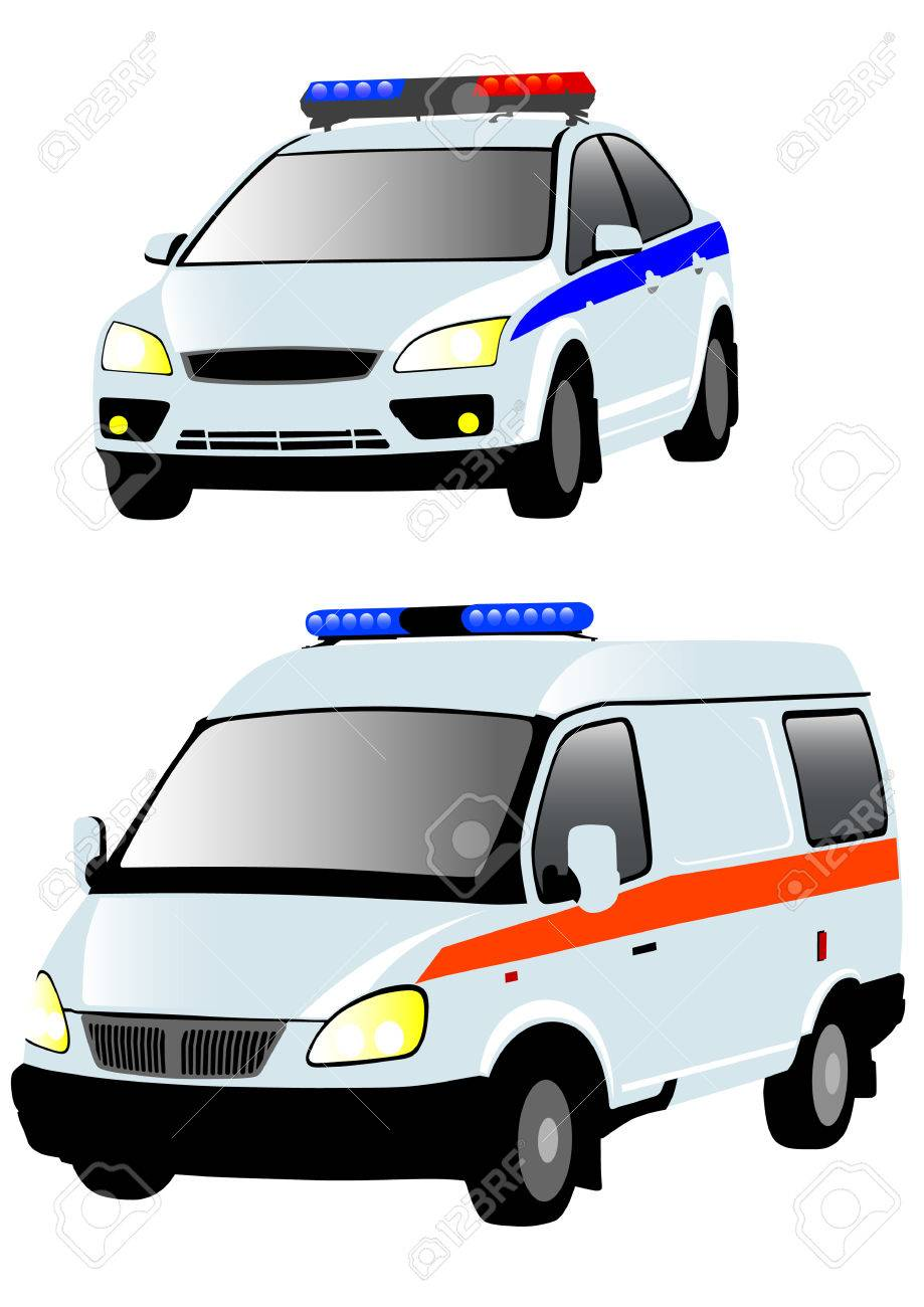 Vector drawing of ambulances and police. Isolated objects on a white background Stock Vector - 6435651